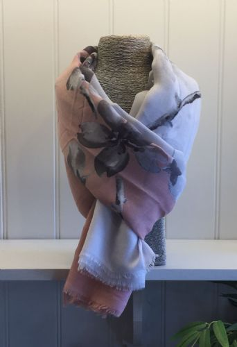 Flowers Print Scarf - Nude and Pale Grey with Grey & White Flowers